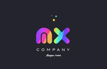 mx m x  colored rainbow creative colors alphabet letter logo icon