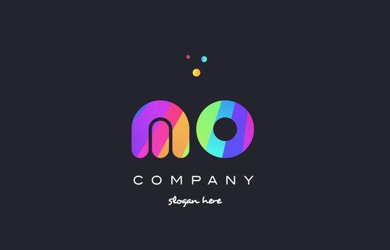 mo m o  colored rainbow creative colors alphabet letter logo icon