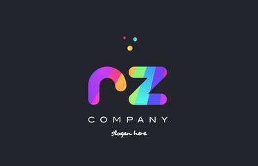 rz r z  colored rainbow creative colors alphabet letter logo icon