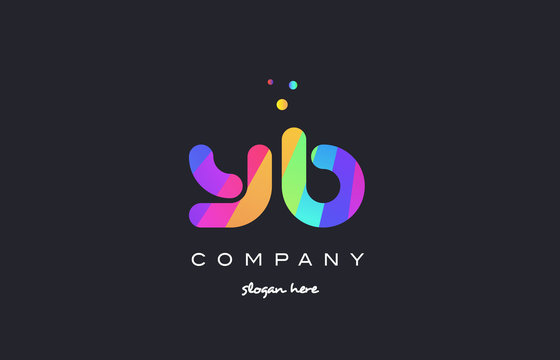 yb y b  colored rainbow creative colors alphabet letter logo icon