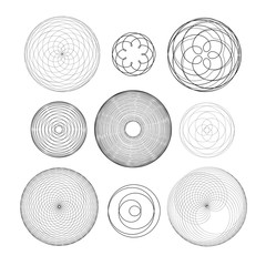 Vector set of different round graphic ornaments