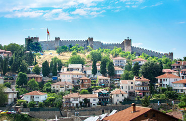 The walls of Samuel Fortress above houses of Ohrid in Macedonia