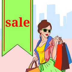 Woman shopping with sale  text