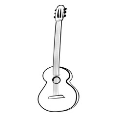 Guitar acoustics vector icon black and white