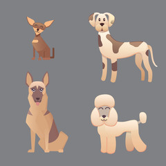 Different type of cartoon happy dogs illustration.