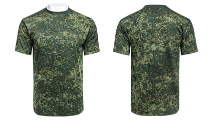 Mannequin in military T-shirt, camouflage shirt