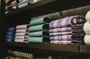 Men shirts in a clothing store