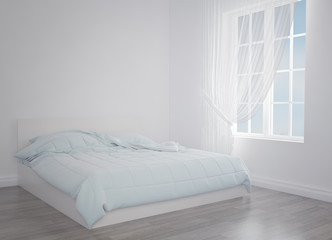 Modern blue bed in the light room near the empty wall. mockup. 3d render