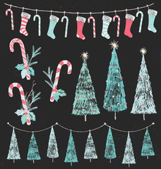 Christmas Tree, Stocking and Candy Cane Chalk Drawing Design Elements Vector Set