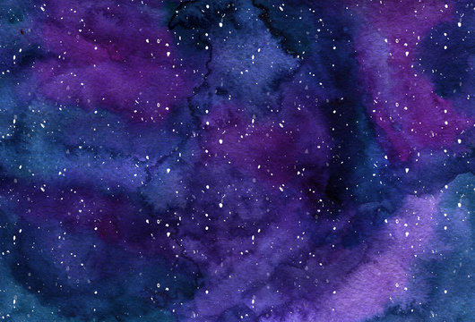 Watercor background Space, nebula, night Star sky For posters, banners, web design