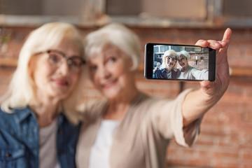 Joyful mature ladies making selfie in kitchen