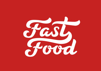 Fast Food calligraphic text logo vector Lettering composition.