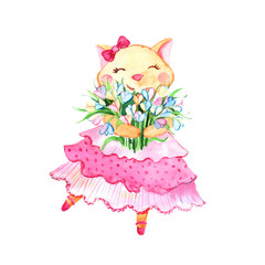 Romantic cat with bow in pink dress with bouquet of flowers isolated on white background.