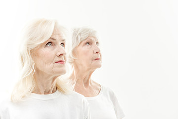 Wrinkled old ladies waiting for new youth
