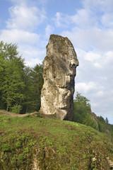 Maczuga Herkulesa monadnock near Pieskowa Skala (Little Dog's Rock) castle at Ojcow National Park.Poland