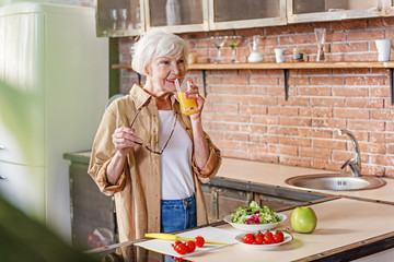 Cheerful old woman caring of her health