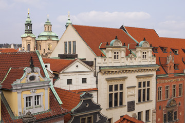 Wall Murals Prague roofs and domes against the blue sky, Prague, Czech Republic, Europe