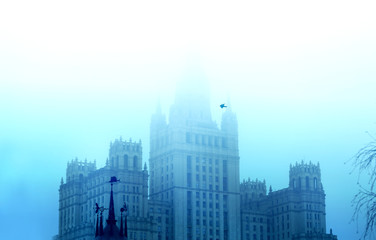 Moscow University in mist