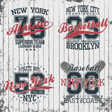 Athletic vintage t-shirt graphic designs. Set of print stamps, athletic, baseball, basketball, New York typography emblems. Vector