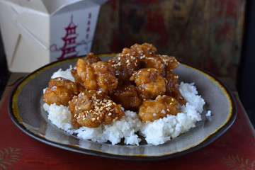 Chinese takeout food of sesame chicken