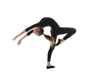 Young girl doing gymnastics on white background