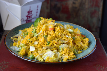 Chinese takeout food of fried rice