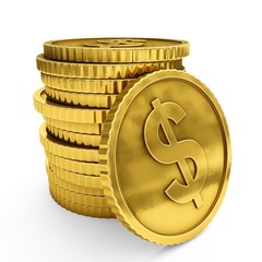 3D rendering gold coins on white background