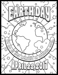 Earth Day coloring page, card or banner design in 1960s psychedelic style