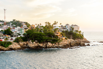 View of Acapulco in evening, Mexico