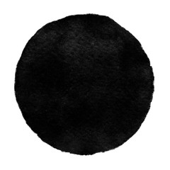 Watercolor black circle on white background.