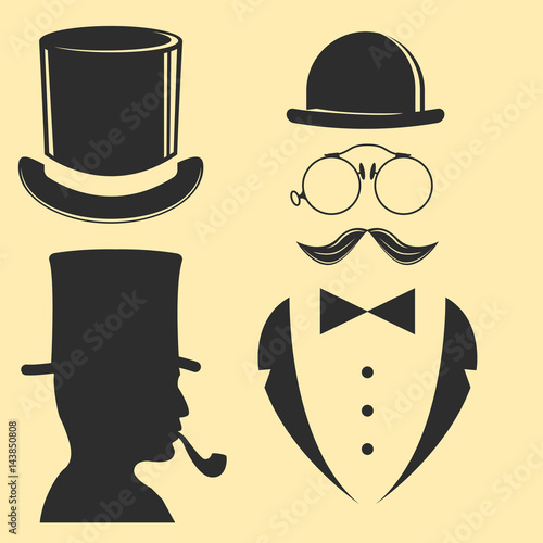 61c38bbb990d9b Vintage style design hipster gentleman vector illustration black silhouette  design mustache element.
