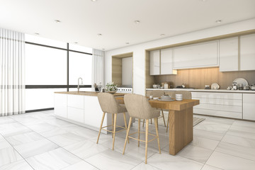 3d rendering scandinavian kitchen with nice tile