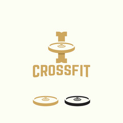 Weight plates logo template, vintage I initial Logo Crossfit industry vector illustration