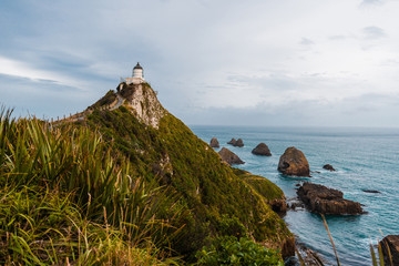 view of Nugget Point Lighthouse, Otago, New Zealand