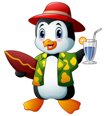 Cartoon penguin with cocktail drink and surfboard