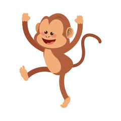 monkey smiling, cartoon icon over white background. colorful design. vector illustration