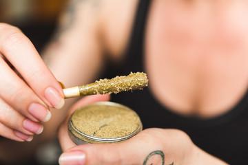 Marijuana Joint with Wax, Oil, and Kief