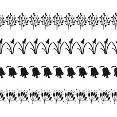 Black silhouette of plants, decorative border of flowers and leaves. Illustration for decorating, design.