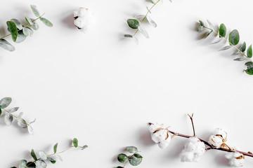 Poster de jardin Fleur spring with morden herbal mockup on white background top view