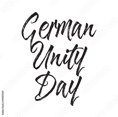 """german Unity Day, Text Design. Vector Calligraphy"