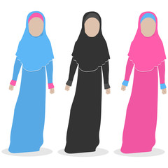 Faceless islamic girl in pink, blue and black dress