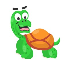 Smiling cute turtle isolated on white vector picture