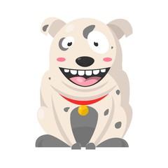 Big smiling Bulldog with grey spots, huge eyes, showing teeth