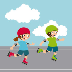boy and Girl riding skates, cartoon icon over landscape background. colorful design. vector illustration