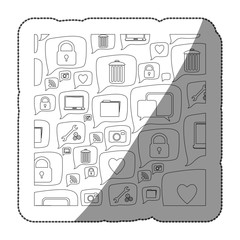 sticker silhouette pattern formed by dialogue social icons vector illustration