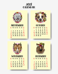 Calendar 2018. Cute dogs set of 4 month. 2018 Chinese new year with text and dog zodiac and flowers decoration vector design.