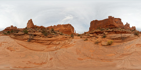 Panoramic 360 view of Park Avenue in the Arches National Park near Moab, Utah