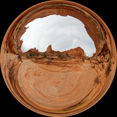 Globe view of Park Avenue in the Arches National Park near Moab, Utah