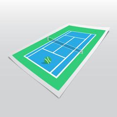 tennis court on bend paper sheet