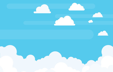 Background with Copyspace of Clouds in Flat Vector and Bright Contrasting White and Blue